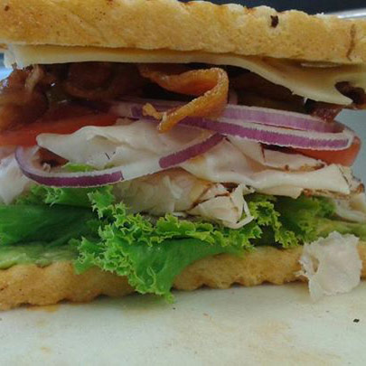 Turkey bacon avocado sandwich lettuce tomato mayonnaise onions